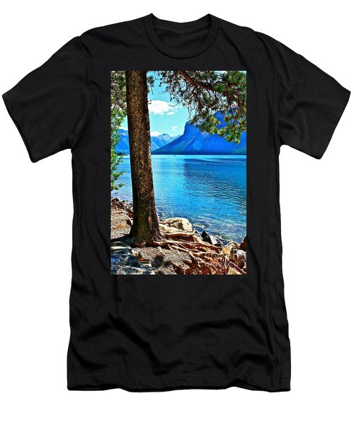 Men's T-Shirt (Slim Fit) featuring the photograph Rooted In Lake Minnewanka by Linda Bianic