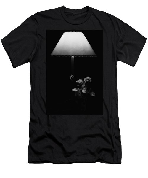 Men's T-Shirt (Slim Fit) featuring the photograph Roses By Lamplight Bw by Ron White