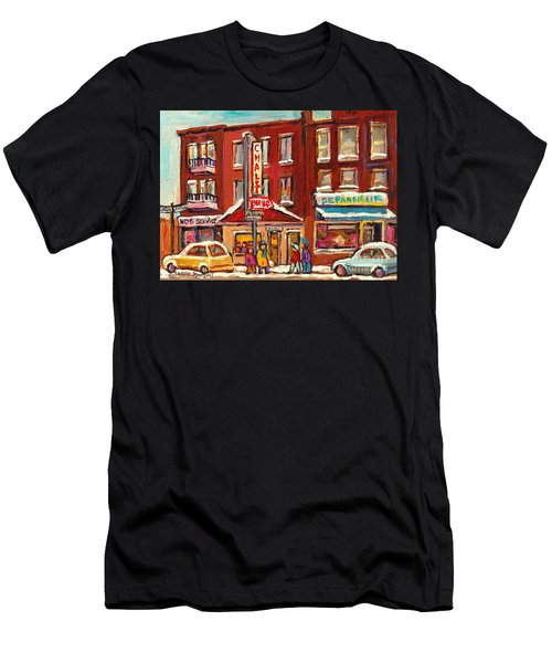 Rotisserie Le Chalet Bar B Q Sherbrooke West Montreal Winter City Scene Men's T-Shirt (Athletic Fit)