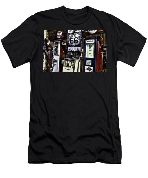 Men's T-Shirt (Slim Fit) featuring the painting Route 66 by Muhie Kanawati
