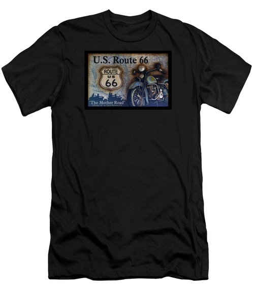 Route 66 Odell Il Gas Station Motorcycle Signage Men's T-Shirt (Slim Fit) by Thomas Woolworth