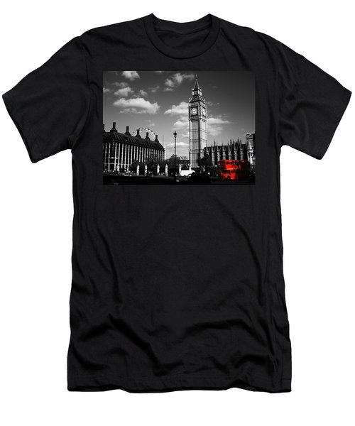 Routemaster Bus On Black And White Background Men's T-Shirt (Athletic Fit)