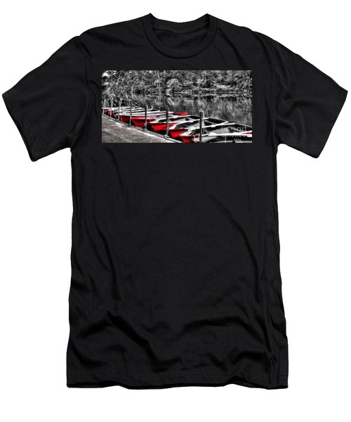 Row Of Red Rowing Boats Men's T-Shirt (Athletic Fit)