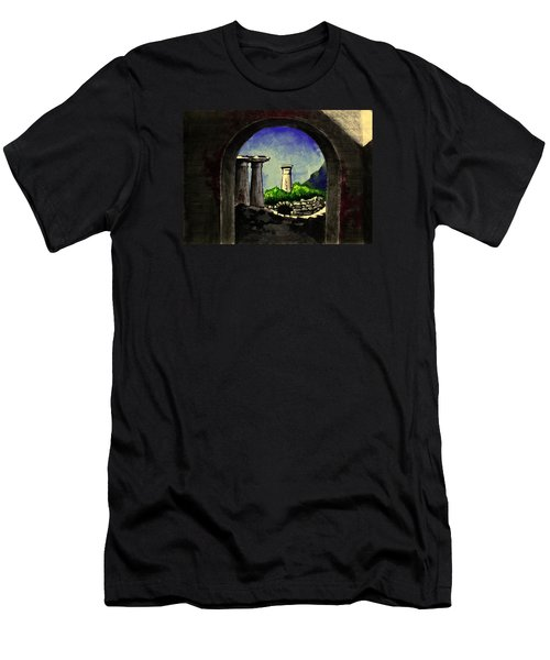Men's T-Shirt (Slim Fit) featuring the painting Ruins by Salman Ravish