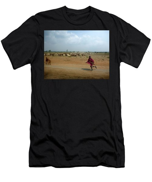 Running Boy Men's T-Shirt (Athletic Fit)