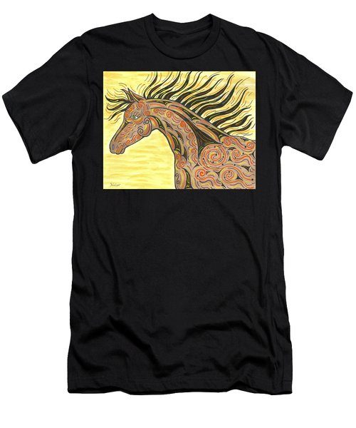 Men's T-Shirt (Slim Fit) featuring the painting Running Wild Horse by Susie WEBER