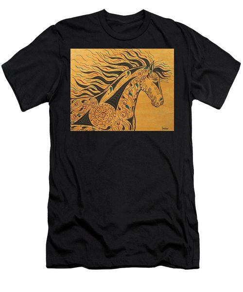 Men's T-Shirt (Slim Fit) featuring the painting Runs With The Wind by Susie WEBER