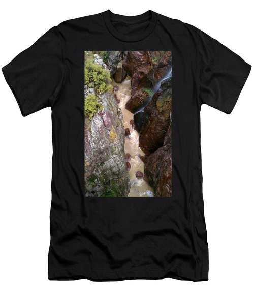 Men's T-Shirt (Slim Fit) featuring the photograph Rushing Crevasse by Fortunate Findings Shirley Dickerson