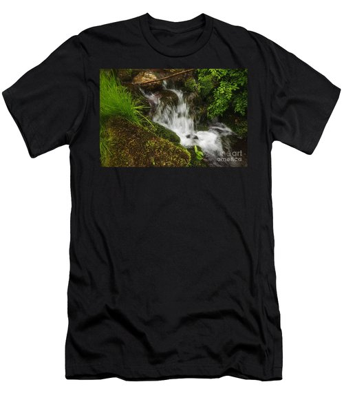 Rushing Mountain Stream And Moss Men's T-Shirt (Athletic Fit)