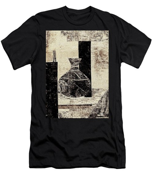 Rustic Vase Black And White Men's T-Shirt (Slim Fit) by Patricia Cleasby