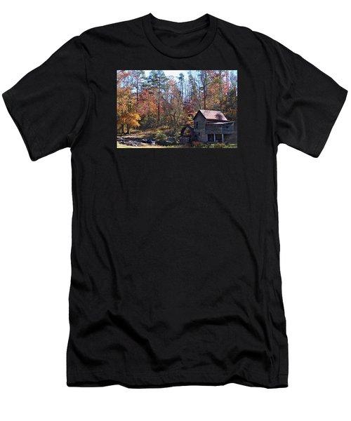 Rustic Water Mill In Autumn Men's T-Shirt (Slim Fit)