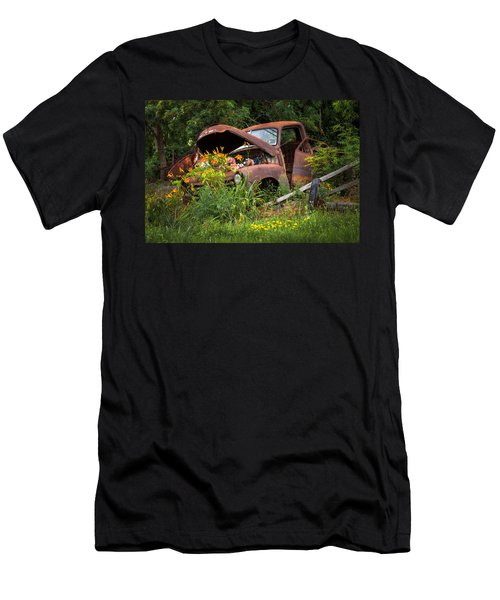 Rusty Truck Flower Bed - Charming Rustic Country Men's T-Shirt (Athletic Fit)
