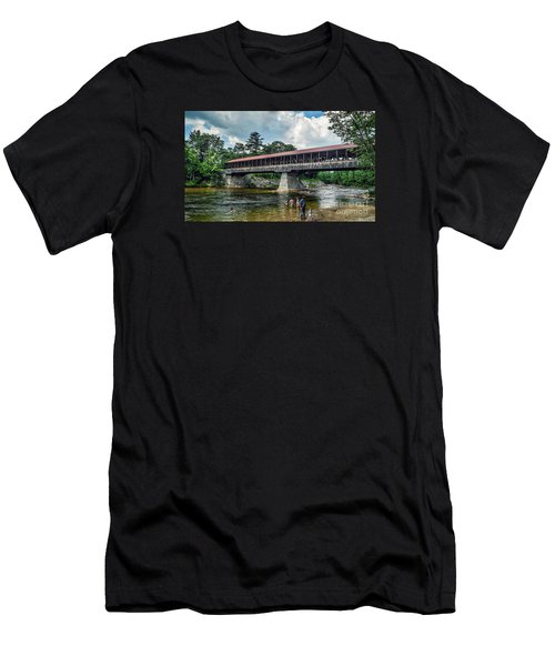 Men's T-Shirt (Slim Fit) featuring the photograph Saco River Covered Bridge  by Debbie Green