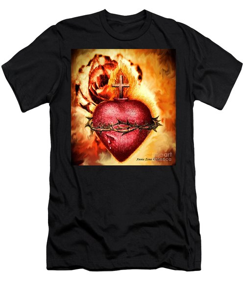 Sacred Heart Of Jesus Christ With Rose Men's T-Shirt (Athletic Fit)