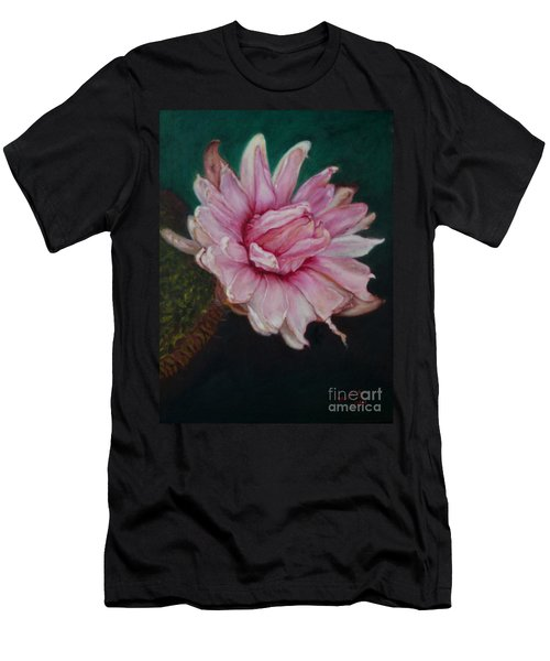 Men's T-Shirt (Slim Fit) featuring the painting Sacred Red Lotus by Mukta Gupta