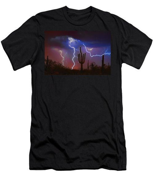 Saguaro Lightning Nature Fine Art Photograph Men's T-Shirt (Athletic Fit)