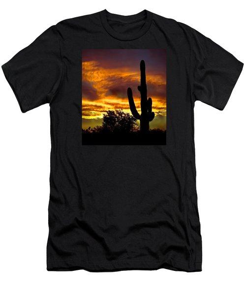 Saguaro Silhouette  Men's T-Shirt (Slim Fit) by Robert Bales