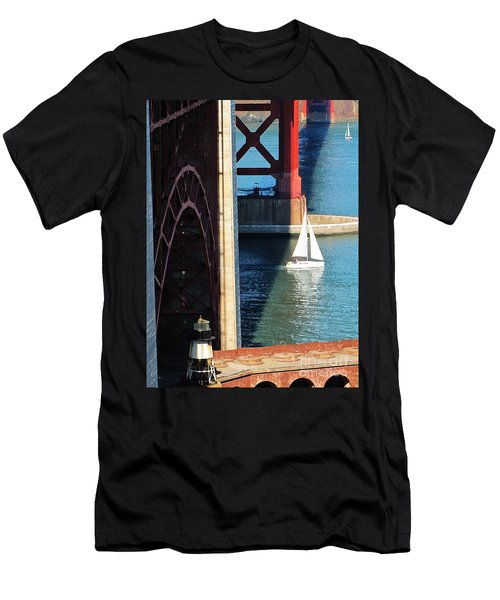 Sail Boat Passes Beneath The Golden Gate Bridge Men's T-Shirt (Athletic Fit)