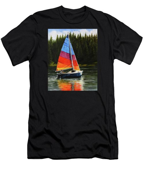 Men's T-Shirt (Athletic Fit) featuring the painting Sailing On Flathead by Kim Lockman