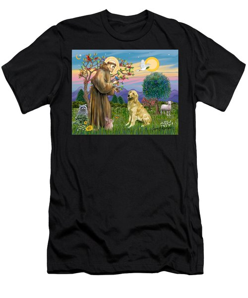 Saint Francis Blesses A Golden Retriever Men's T-Shirt (Athletic Fit)