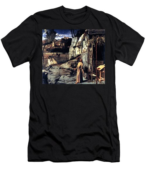 Men's T-Shirt (Slim Fit) featuring the painting Saint Francis In Ecstasy 1485 Giovanni Bellini by Karon Melillo DeVega