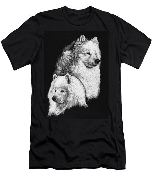 Men's T-Shirt (Slim Fit) featuring the drawing Samoyed by Rachel Hames