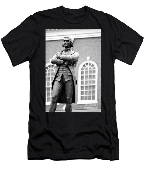 Samuel Adams Statue State House Boston Ma Black And White Men's T-Shirt (Athletic Fit)