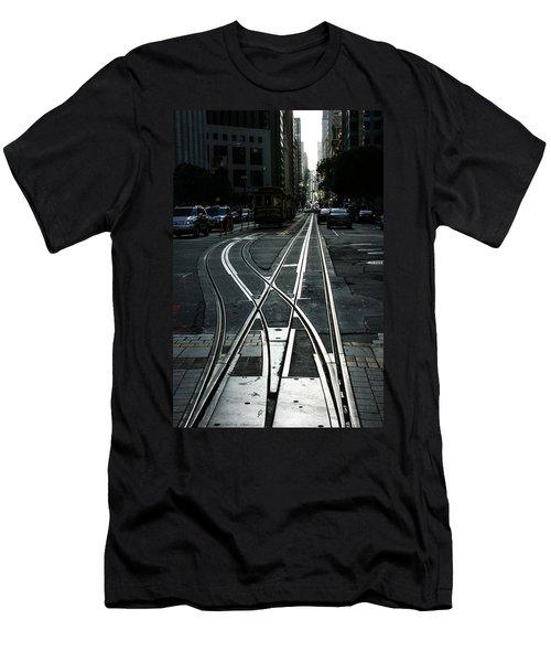 Men's T-Shirt (Slim Fit) featuring the photograph San Francisco Silver Cable Car Tracks by Georgia Mizuleva