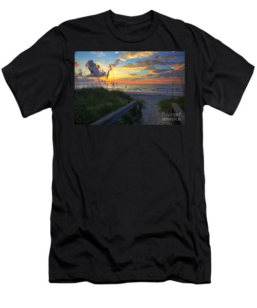 Sand Dunes On The Seashore At Sunrise - Carolina Beach Nc Men's T-Shirt (Athletic Fit)