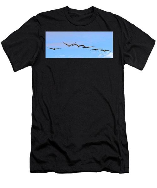 Sandhill Crane Flight Pattern Men's T-Shirt (Athletic Fit)