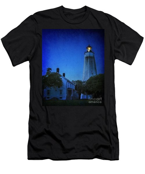Men's T-Shirt (Slim Fit) featuring the photograph Sandy Hook Lighthouse At Twilight by Debra Fedchin