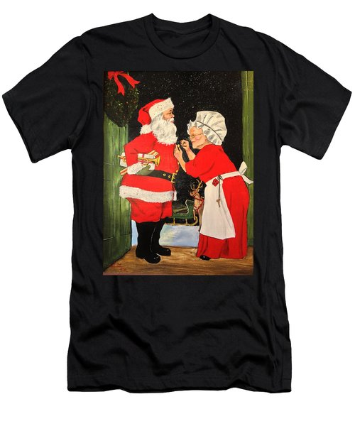 Men's T-Shirt (Slim Fit) featuring the painting Santa And Mrs by Alan Lakin