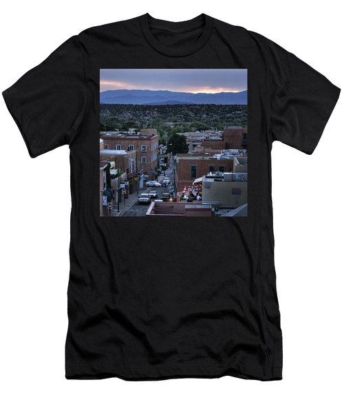 Men's T-Shirt (Slim Fit) featuring the photograph Santa Fe Evening Rooftops by John Hansen