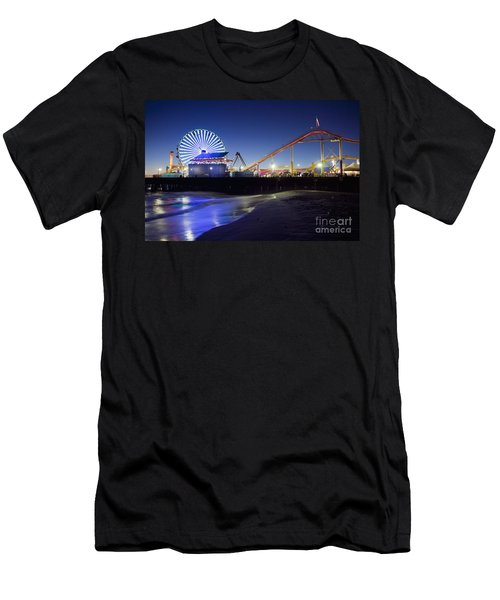 Santa Monica Pier At Night Men's T-Shirt (Athletic Fit)