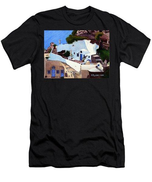 Santorini Cave Homes Men's T-Shirt (Slim Fit) by Mike Robles