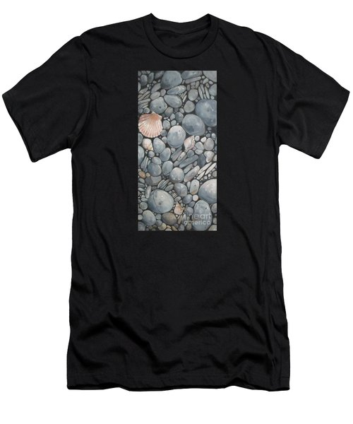 Scallop Shell And Black Stones Men's T-Shirt (Athletic Fit)