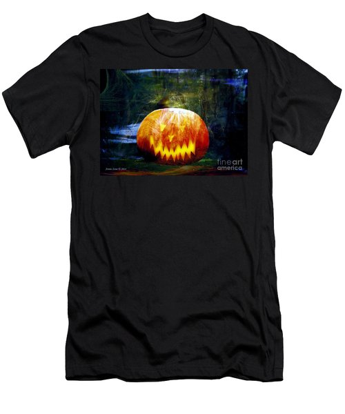 Men's T-Shirt (Slim Fit) featuring the photograph Scary Pumpkin Halloween Art by Annie Zeno