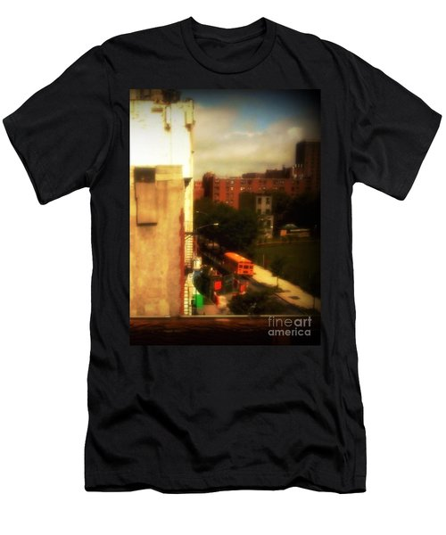 Men's T-Shirt (Slim Fit) featuring the photograph School Bus - New York City Street Scene by Miriam Danar