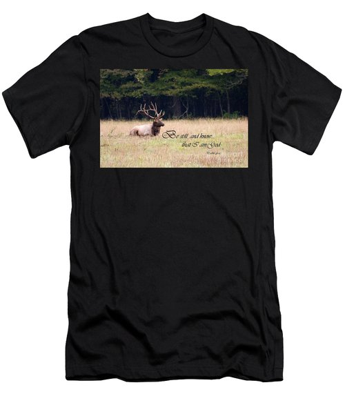 Scripture Photo With Elk Sitting Men's T-Shirt (Athletic Fit)