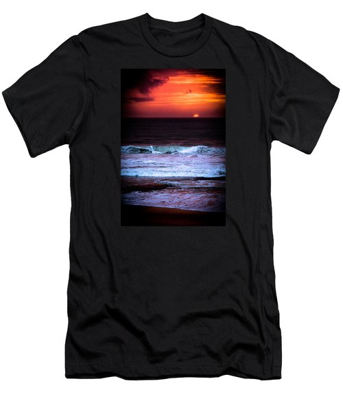 Men's T-Shirt (Slim Fit) featuring the photograph Sea Foam Under Fire Sky by Edgar Laureano