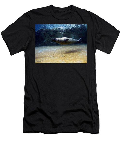 Men's T-Shirt (Slim Fit) featuring the photograph Sea Lion Swimming Upsidedown by Verana Stark