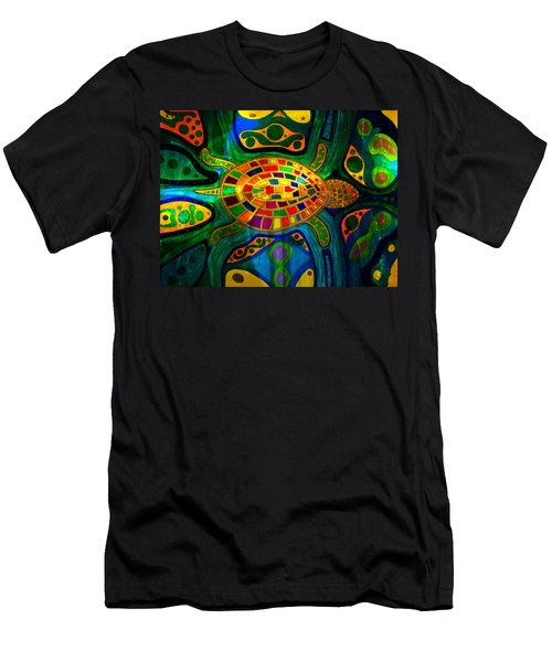 Sea Turtle - Abstract Ocean - Native Art Men's T-Shirt (Athletic Fit)