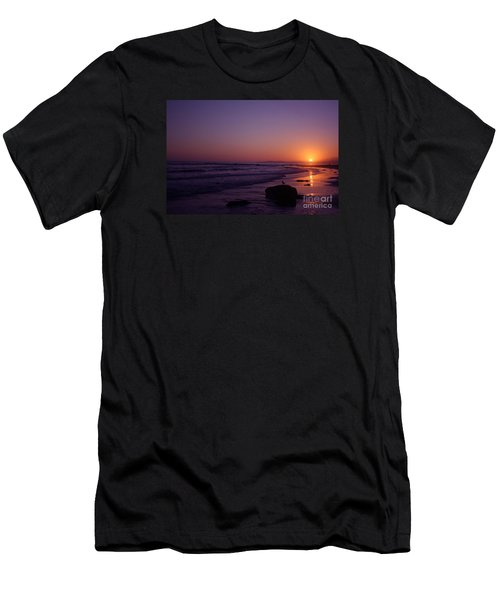 Men's T-Shirt (Slim Fit) featuring the photograph Seagull Watching The Sunset Carpinteria State Beach by Ian Donley