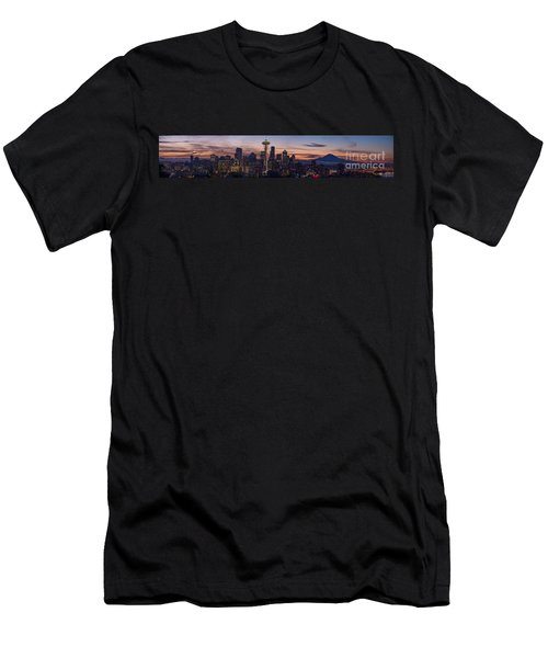 Seattle Cityscape Morning Light Men's T-Shirt (Slim Fit) by Mike Reid