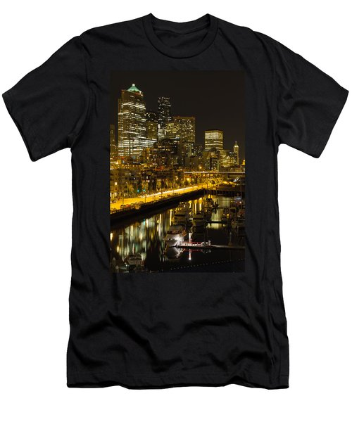 Men's T-Shirt (Slim Fit) featuring the photograph Seattle Downtown Waterfront Skyline At Night by JPLDesigns