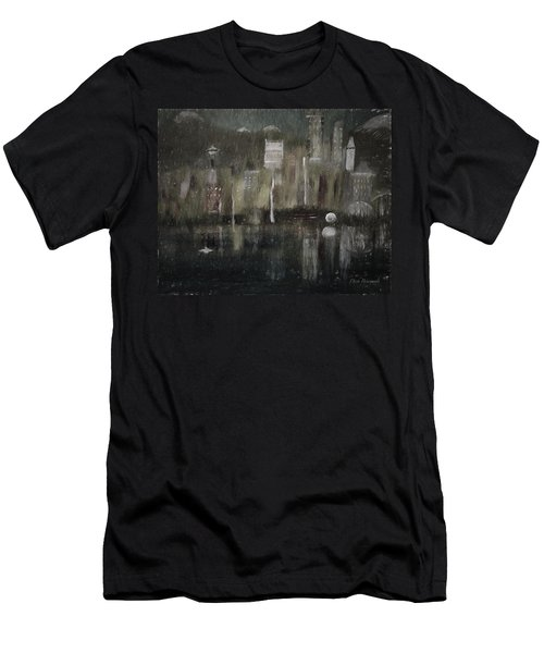 Seattle In The Rain Cityscape Men's T-Shirt (Slim Fit) by Dick Bourgault