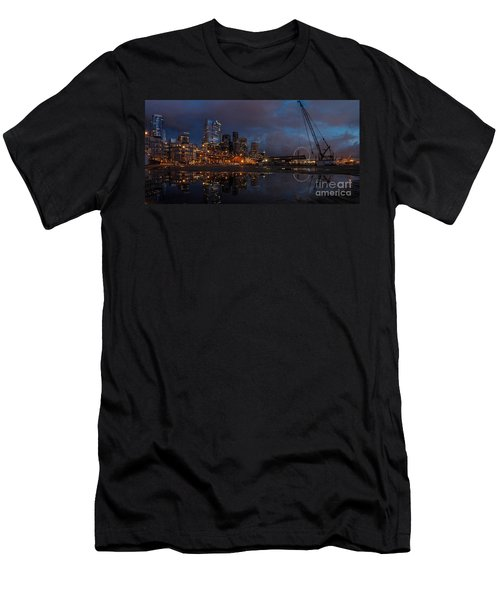 Seattle Night Skyline Men's T-Shirt (Slim Fit) by Mike Reid