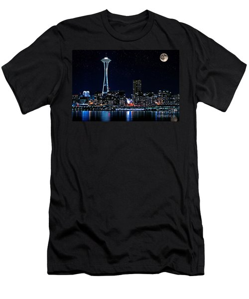 Seattle Skyline At Night With Full Moon Men's T-Shirt (Slim Fit) by Valerie Garner