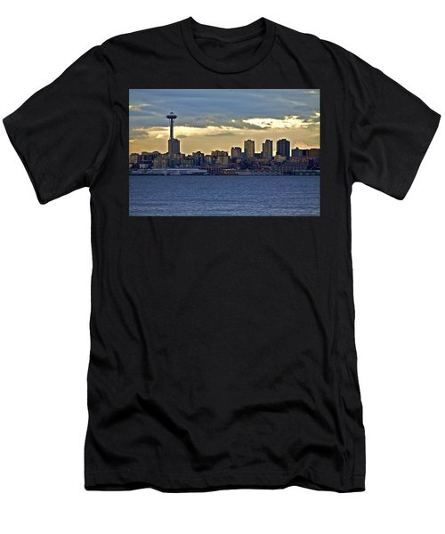 Seattle Skyline In Twilight Men's T-Shirt (Athletic Fit)