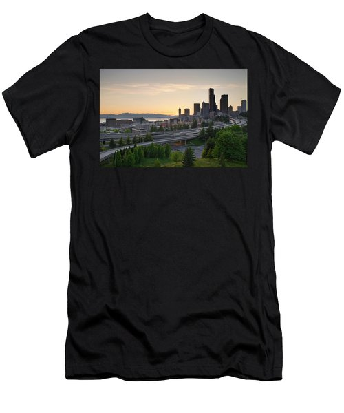 Men's T-Shirt (Slim Fit) featuring the photograph Seattle Washington Downtown City Sunset by JPLDesigns